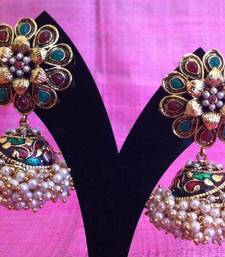 Buy Red green flower and array of small pearls India jhumka earring jewelry v627 gifts-for-wife online