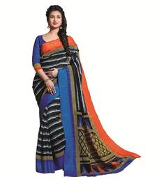 Buy Multicolor  embroidered Kashida Khadi Silk saree with blouse silk-saree online