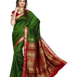 Buy Dark Green plain jacquard Saree with blouse jacquard-saree online