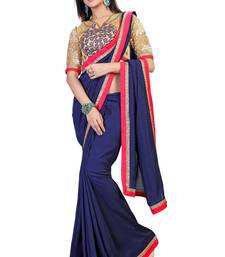 Buy Bavy Blue embroidered silk saree with blouse silk-saree online