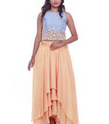 Buy Blue bead embroidered raw silk crop top with peach layered chiffon skirt skirt online