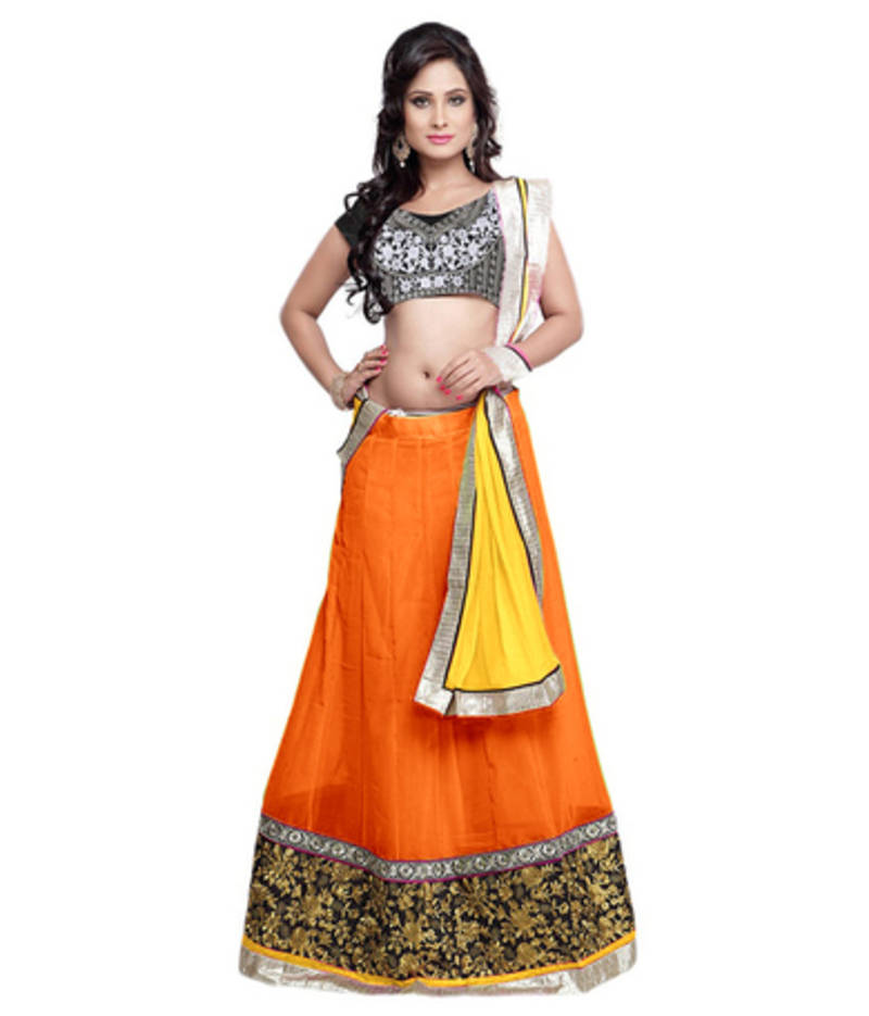 Buy Orange Georgette Embroidered Unstitched Lehenga Choli