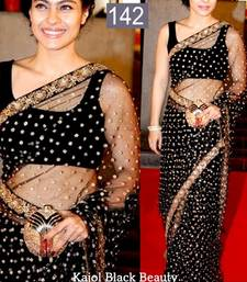 Buy Kajol Black Net Designer Bollywood Saree with Gold Sparkles engagement-gift online