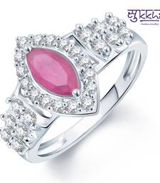 Buy Sukkhi Pleasing Rhodium Plated CZ Ruby Ring Ring online