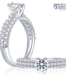 Buy Sukkhi Leafy Rhodium Plated CZ Ring Ring online