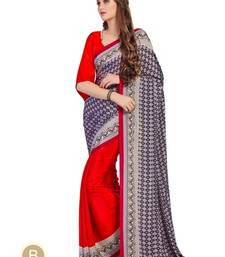 Buy Multicolour printed crepe saree with blouse crepe-saree online