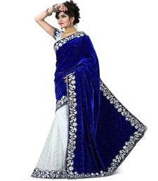 Buy Blue printed velvet saree with blouse velvet-saree online