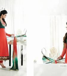 Buy Orange-Peach & Botte Green Designer Anarkali anarkali-salwar-kameez online
