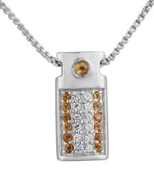 Buy Sterling Silver Citrine and Cubic Zirconia Gemstone Women Pendant Pendant online