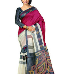 Buy Pink  and  Off White printed art_silk saree with blouse art-silk-saree online