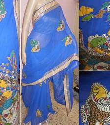 Buy Blue hand woven chiffon kalamkari saree with blouse kalamkari-saree online