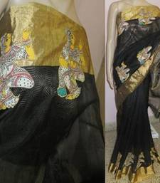 Buy Black hand woven chanderi kalamkari saree with blouse kalamkari-saree online