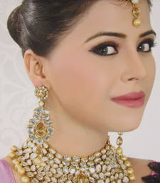 Buy Kundan Bridal Pearl gold Necklace earring tika set eid-jewellery online