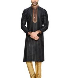 Buy Black Art Silk Readymade Kurta with Churidar kurta-pajama online
