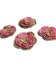 Buy Handmade Crochet Motifs | Set of 10 | Mehndi Green, Pink gifts-for-her online