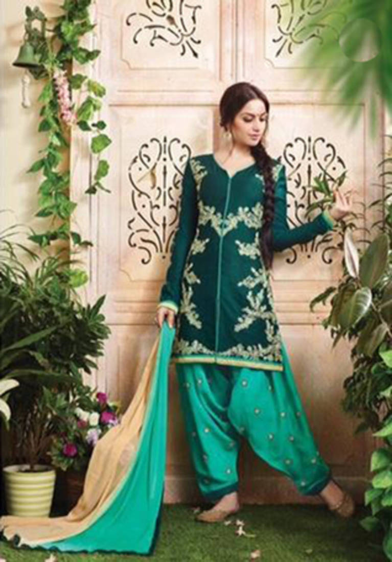 Buy green cotton embroidered unstitched salwar with for Genesis decor international pvt ltd