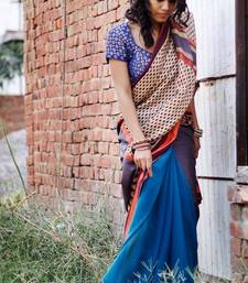 Buy Grey and blue saree kalamkari-saree online