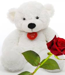 Buy Red Rose Stick n Cute Teddy Bear Valentine Gift valentine-gift online
