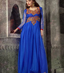 Buy Blue embroidered net semi stitched party-wear-gowns party-wear-gown online