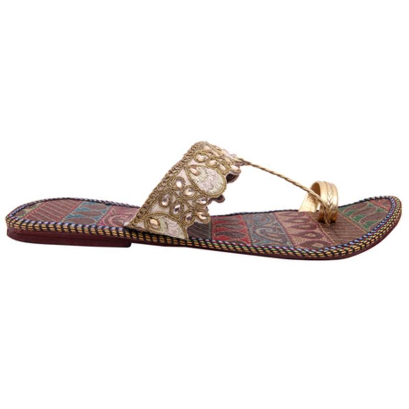 buy golden paisley designed slipper for women online. Black Bedroom Furniture Sets. Home Design Ideas