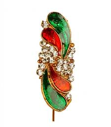 Buy Meenakari  Auatrian Stone Maroon & Green Gold plated Broach brooch online