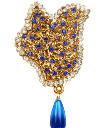 Buy Blue Auatrian Stone Drop Gold Finish Broach brooch online