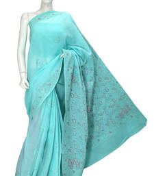 Buy Ada Exclusive Green Cotton Lucknowi Chikankari Saree with Blouse cotton-saree online