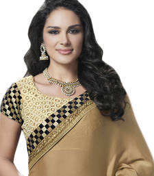 Buy Beige embroidered Satin saree with blouse satin-saree online