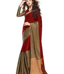 Buy Red and Gold printed cotton saree with Blouse cotton-saree online