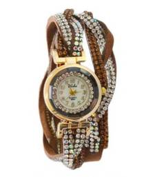Buy Brown Crystal Shimmer Modest Analog Watch - For Women gifts-for-her online
