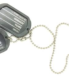 Buy Engraved Army Style With Black Thick Border 2 Dog Tag Pendant For Men gifts-for-him online