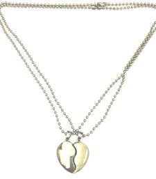 Buy Rhodium Plated High Polish Silver Plain Heart Charm 2 Piece Necklace Set gifts-for-him online