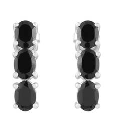 Buy 925 Sterling Silver Black Spinel Studded Earrings by Jewellery danglers-drop online