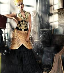 Buy Stylish Golden Black Gown In georgette Satin Fabric party-wear-gown online