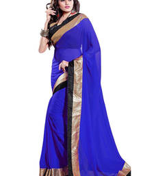 Buy blue embroidered georgette saree with blouse priyanka-chopra-saree online