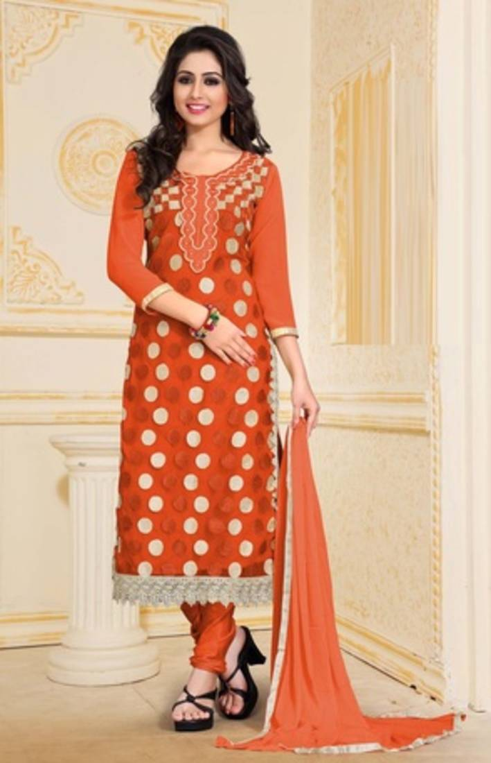 Buy Orange Net Embroidered Semi Stitched Salwar With