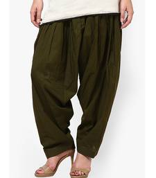 Buy Mehandi Green Pure Cotton Semi Patiala Bottoms other-apparel online