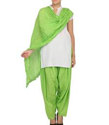 Buy Neon Green Pure Cotton Semi Patiala & Cotton Dupatta with Lace Set other-apparel online
