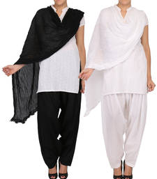 Buy Combo Pack of 2 Pure Cotton Semi Patiala & Cotton Dupatta with Lace Set other-apparel online