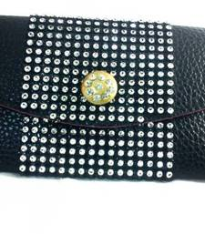 Buy Genuine Leather Glittered Black Envelope clutch online