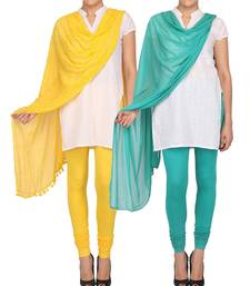 Buy Combo Pack of 2 Cotton Lycra Slim Fit Churidar Style Leggings & Chiffon Dupatta with Pom Pom Lace Combo Set other-apparel online