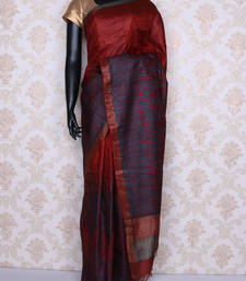 Buy Maroon embroidered faux tussar silk saree with blouse tussar-silk-saree online