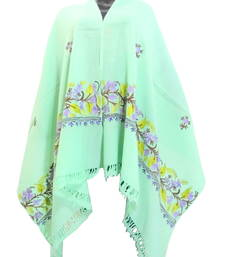Buy Pure Wool Kashmiri Embroideredy Stole/Shawl- Sea Green shawl online