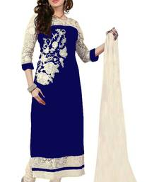 Buy Blue and White embroidered Georgette unstitched salwar with dupatta dress-material online