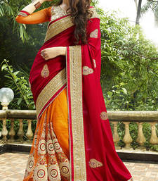 Buy Orange and Red embroidered Silk  saree with blouse party-wear-saree online