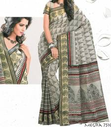 Buy Designer Bollywood Printed Cotton Saree Sari - Ethnic border 902790 7510 cotton-saree online