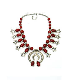 Buy Red Stone Acrylic, Alloy Necklace Necklace online