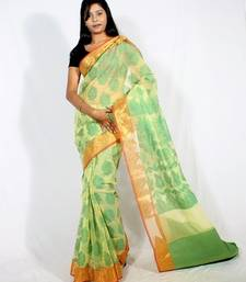 Buy Supernet banarasi zari border saree cotton-saree online