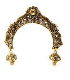 Buy Traditional Gold Plated White Kundan & Pearl Hair & Head Jewelry Hair pin (Ambada) Brooch hair-accessory online