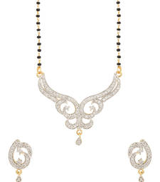 Buy Single Chain Mangalsutra Set With Glittering CZ Diamonds-PSJAI25811 mangalsutra online